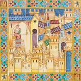 塞维利亚-玛丹娜教会在中世纪镇 从铺磁砖的'省凹室的'细节沿广场de西班牙的墙壁 库存照片