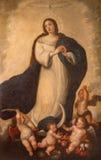 塞维利亚-由学校的未知的画家的完美的构想油漆以塞维利亚形式18 分 在萨尔瓦多的巴洛克式的教会里 免版税库存图片