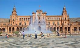 塞维利亚-艺术装饰和新Mudejar样式的Anibal设计的广场de西班牙广场冈萨雷斯(20世纪20年代) 图库摄影