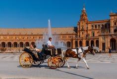 塞维利亚 西班牙正方形或Plaza de西班牙 图库摄影