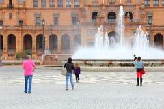 塞维利亚Plaza de西班牙 免版税图库摄影