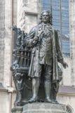塞巴斯蒂安Bach雕象在莱比锡,德国 免版税库存图片