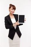 填充个人计算机女商人显示空的空间  免版税图库摄影