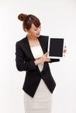 填充个人计算机女商人显示空的空间  库存图片