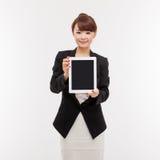 填充个人计算机女商人显示空的空间  免版税库存图片