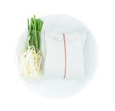 填塞泰国(混乱油炸物米线)用在包裹的虾 库存照片