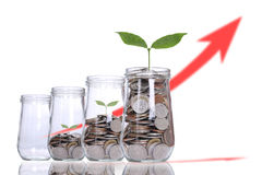 填装对玻璃的硬币投资的 免版税图库摄影