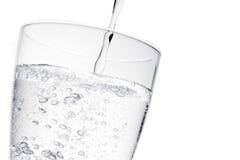 填装文本的玻璃用与泡影的纯净的水和空间 免版税图库摄影
