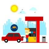 填装汽油箱的人 免版税库存图片