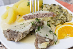 填装煮沸的牛肉用调味汁、开胃菜和煮的土豆 库存图片