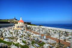 墓地有历史的胡安・波多里哥圣 免版税库存照片