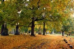墓地秋天挂接olivet 库存照片