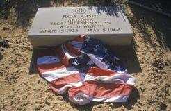 墓碑和美国国旗 免版税库存照片