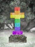 墓碑在公墓-彩虹旗子 库存图片