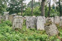 墓碑在犹太公墓 库存照片