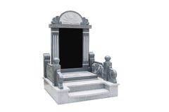 墓碑整理了与在白色背景的石狮子 免版税库存图片