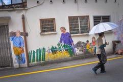 墙壁上的街道艺术 库存图片
