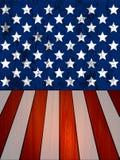 墙壁和木板条在美国旗子的纹理 库存照片