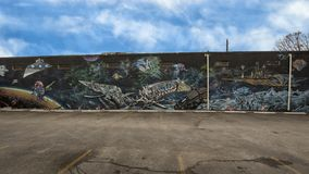 42墙壁壁画,无提名的超现实主义的空间题材,深Ellum,得克萨斯 免版税库存图片