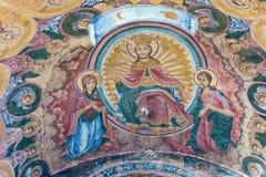 墙壁壁画特罗扬修道院在保加利亚 库存图片