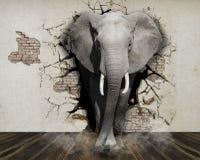 墙壁大象的墙纸从墙壁出来入屋子 3d翻译 库存照片