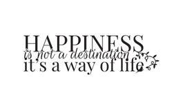 墙壁标签,幸福不是这是生活方式的目的地,措辞设计,艺术设计 向量例证