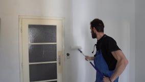墙壁油漆工作者 股票录像
