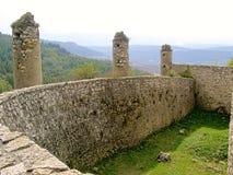 墙壁的内部结构的斯洛伐克Spissky城堡看法 库存照片