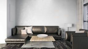 墙壁的嘲笑在与沙发的内部 客厅现代样式 3 库存照片