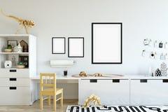 墙壁的嘲笑在儿童居室内部 内部斯堪的纳维亚样式 3D翻译, 3D例证 免版税库存照片