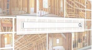 墙壁的框架和一个木房子,蒸气障碍的天花板, 免版税库存照片