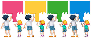 绘墙壁的男孩 向量例证