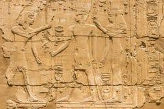 墙壁的看法有埃及象形文字的在卡尔纳克寺庙在卢克索,埃及 免版税图库摄影