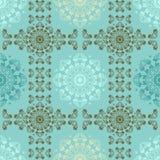 墙壁的蓝色无缝的样式 墙纸织品与坛场和装饰葡萄酒的纺织品设计 图库摄影