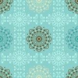 墙壁的蓝色无缝的样式 墙纸织品与坛场的纺织品设计 免版税图库摄影