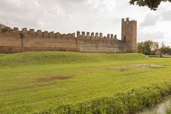 墙壁蒙塔尼亚纳帕多瓦意大利, 2014年10月 图库摄影
