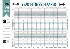 年墙壁计划者模板 计划您的与这本日历的整个健身 体育和饮食的传染媒介设计 图库摄影
