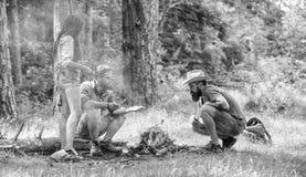 增加一些木头射击 朋友在篝火野餐附近停留 公司青年野营的森林篝火为野餐做准备 免版税图库摄影