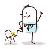 增加一小一个的动画片重要的商人 免版税库存图片