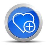 增加喜爱的心脏象蓝色圆的按钮例证 库存例证