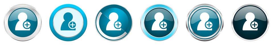 增加在6个选择的联络银色金属镀铬物边界象,被设置在白色背景隔绝的网蓝色圆的按钮 库存例证