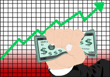 增加市场股票 库存图片