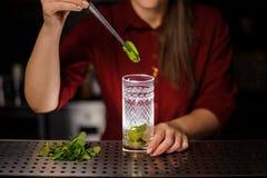 增加新鲜薄荷的叶子女性侍酒者到一块玻璃用蔗糖和石灰 免版税库存照片
