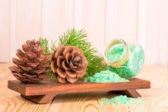增加杉木针萃取物和大锥体的海盐 库存照片