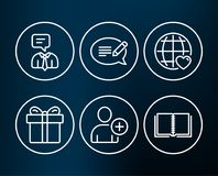 增加用户、礼物盒和支助服务象 消息、国际爱和书标志 库存图片