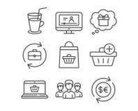 增加购买、礼物梦想和鸡尾酒象 小组、网上购买和网上录影标志 免版税库存照片
