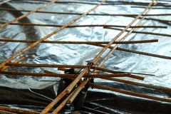 增强混凝土板的滤网 库存照片