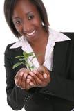 增长工厂俏丽的妇女 免版税库存照片