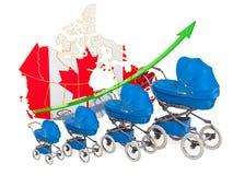 增长的出生率在加拿大,概念 3d?? 库存例证