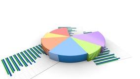 增长的图表饼财政动画,五颜六色的收入分布形象图 皇族释放例证